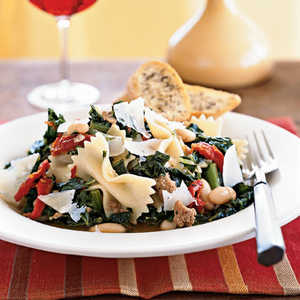 <p>Farfalle with Sausage, Cannellini Beans, and Kale</p>