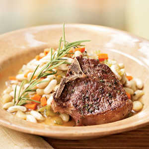 Lamb Chops with Rosemary Flageolets Recipe