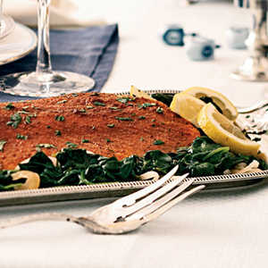 Spice-Rubbed Roasted Salmon with Lemon-Garlic Spinach Recipe