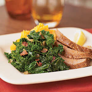 Quick Kale with Bacon and Onions Recipe