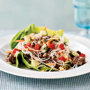 Asian Beef and Noodle-Filled Lettuce CupsRecipe