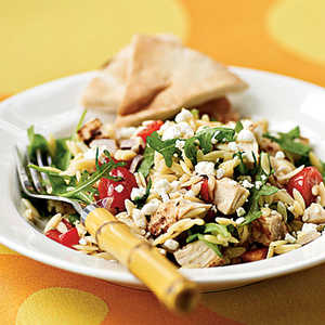 <p>Chicken-Orzo Salad with Goat Cheese</p>