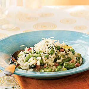 Risotto with Spring Vegetables and Smoked Ham Recipe
