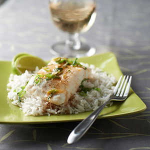 Steamed Halibut with Sesame-Lime Sauce and Coconut RiceRecipe
