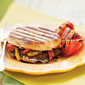 <p>Grilled Portobello, Bell Pepper, and Goat Cheese Sandwiches</p>