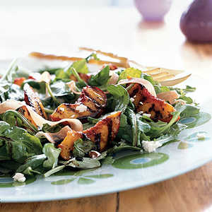 Grilled Peaches over Arugula with Goat Cheese and ProsciuttoRecipe