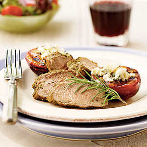 Peppered Pork Tenderloin with Blue Cheese PlumsRecipe
