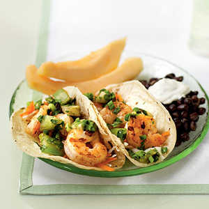 Spicy Shrimp Tacos with Grilled Tomatillo Salsa Recipe