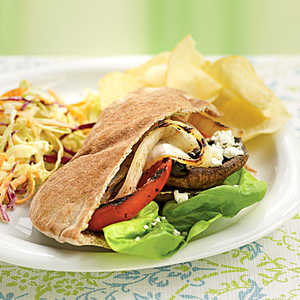 Grilled Vegetable Pitas with Goat Cheese and Pesto Mayo Recipe
