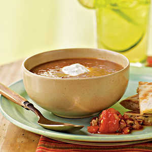 Black Bean–Tomato Soup with Cilantro-Lime Cream Recipe