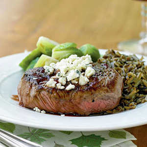 <p>Beef Tenderloin Steaks with Port Reduction and Blue Cheese</p>