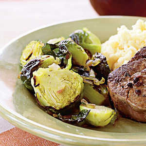 Caramelized Shallots and Brussels Sprouts with PancettaRecipe
