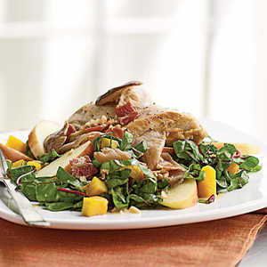 Pan-Roasted Chicken, Squash, and Chard Salad with Bacon VinaigretteRecipe