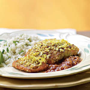 Coconut-Crusted Salmon with Tamarind Barbecue Sauce Recipe