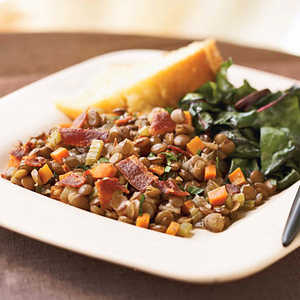 Bacon, Onion, and Brown Lentil SkilletRecipe