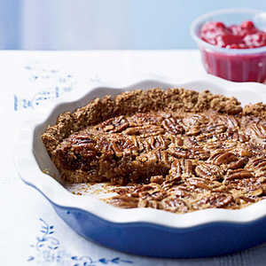 Oat-Crusted Pecan Pie with Fresh Cranberry Sauce Recipe