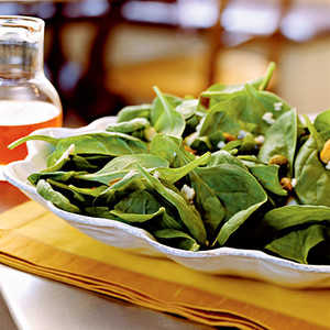 Spinach Salad with Gorgonzola, Pistachios, and Pepper Jelly Vinaigrette Recipe