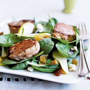 Warm Spinach Salad with Pork and Pears Recipe