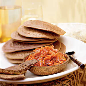 Teff Injera Bread with Carrot-Ginger ChutneyRecipe