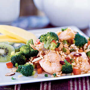 Shrimp and Broccoli Fried Rice with Toasted AlmondsRecipe