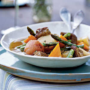 Lamb Shoulder Braised with Spring Vegetables, Green Herbs, and White WineRecipe