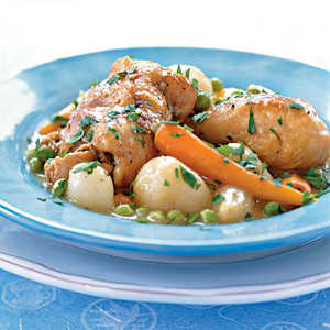Braised Chicken with Baby Vegetables and PeasRecipe