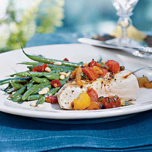 Grilled Halibut with Three-Pepper RelishRecipe