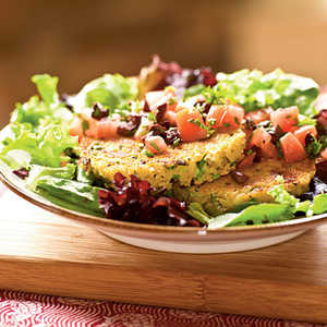 Feta and Green Onion Couscous Cakes over Tomato-Olive Salad Recipe