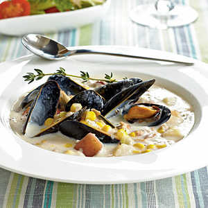 <p>Corn, Clam, and Mussel Chowder</p>