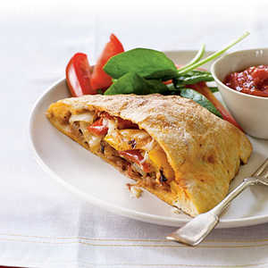 Grilled Pepper, Onion, and Sausage Calzones Recipe