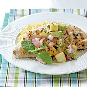 <p>Snapper with Grilled Mango Salsa</p>