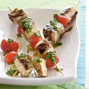 Swordfish Skewers with Cilantro-Mint Pesto Recipe