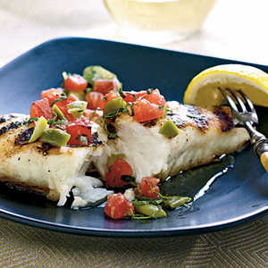 Halibut with Grilled Tomato and Olive RelishRecipe