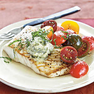 Sautéed Halibut with Lemon-Pesto ButterRecipe