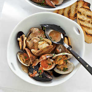 Smoky Mussels and Clams with White Wine BrothRecipe