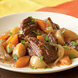 Beer-Braised Beef with Onion, Carrot, and TurnipsRecipe