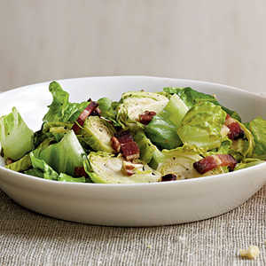 Brussels Sprouts Salad with Warm Bacon VinaigretteRecipe
