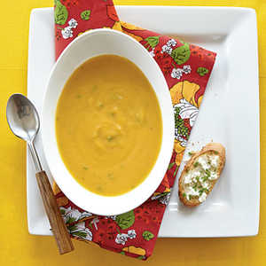 Roasted Butternut Soup with Goat Cheese ToastsRecipe