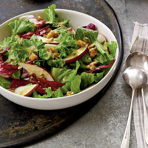 Candied Walnut, Pear, and Leafy Green Salad Recipe