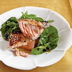 Miso-Glazed Salmon with Wilted SpinachRecipe