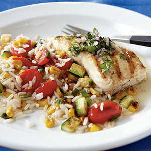 <p>Pan-Grilled Halibut with Chimichurri</p>