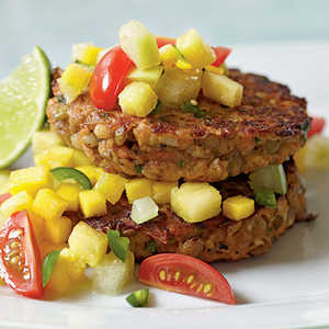 Lentil-Barley Burgers with Fiery Fruit SalsaRecipe