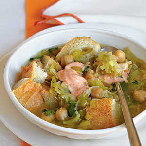 Chickpea, Bread, and Leek Soup with Harissa and YogurtRecipe