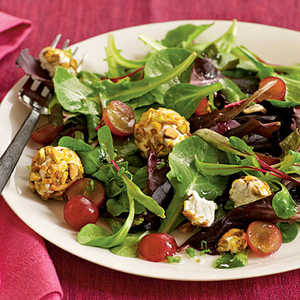 Spring Salad with Grapes and Pistachio-Crusted Goat CheeseRecipe