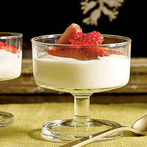 Lavender-Scented Strawberries with Honey CreamRecipe