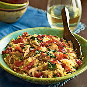 Bacon and Wild Mushroom Risotto with Baby Spinach Recipe