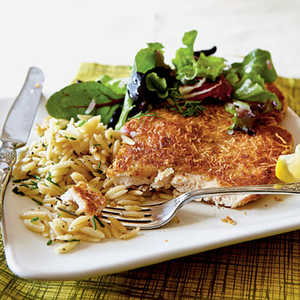 <p>Chicken Milanese with Spring Greens</p>