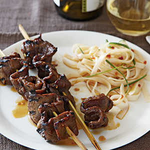 Korean-Style Beef Skewers with Rice NoodlesRecipe
