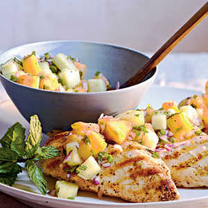 Grilled Chicken with Cucumber-Melon SalsaRecipe