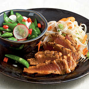 <p>Grilled Lime-Soy Tuna with Noodles</p>